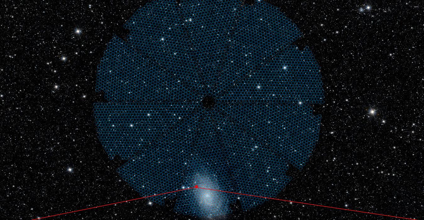 overlay of DESI's focal plane on the night sky